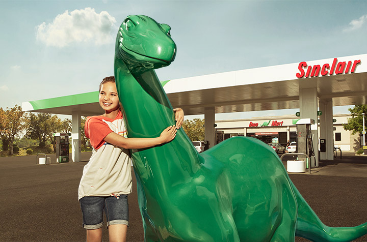 Girl hugging DINO