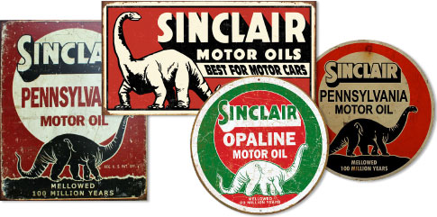 Sinclair's advertising writers first had the idea to use dinosaurs in Sinclair marketing back in 1930. They were promoting lubricants refined from crude oil ...